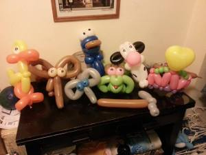 various animals made of balloons